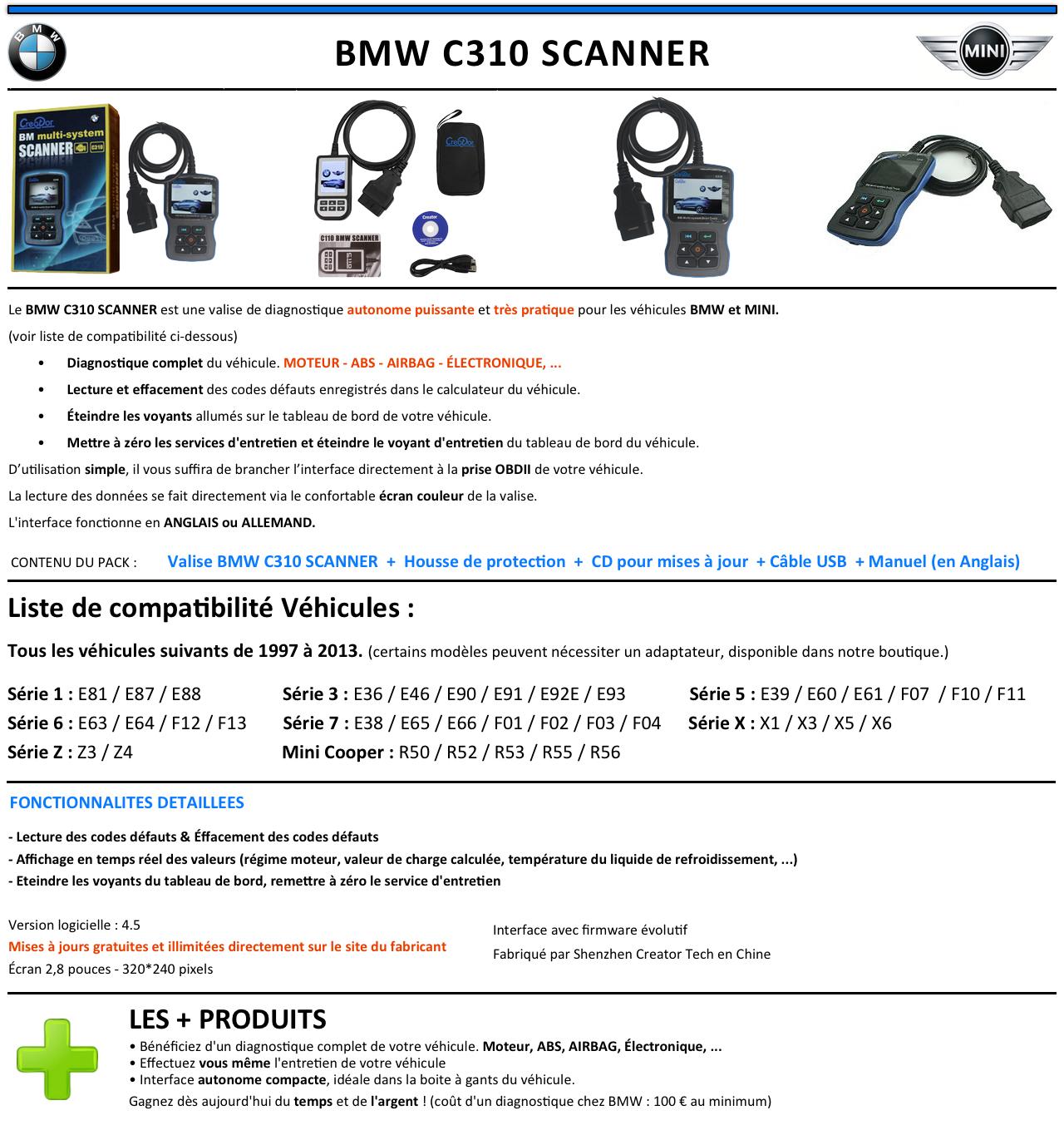 valise appareil diagnostique pro bmw mini en fran ais obd2 diagnostic bmw c310 ebay. Black Bedroom Furniture Sets. Home Design Ideas