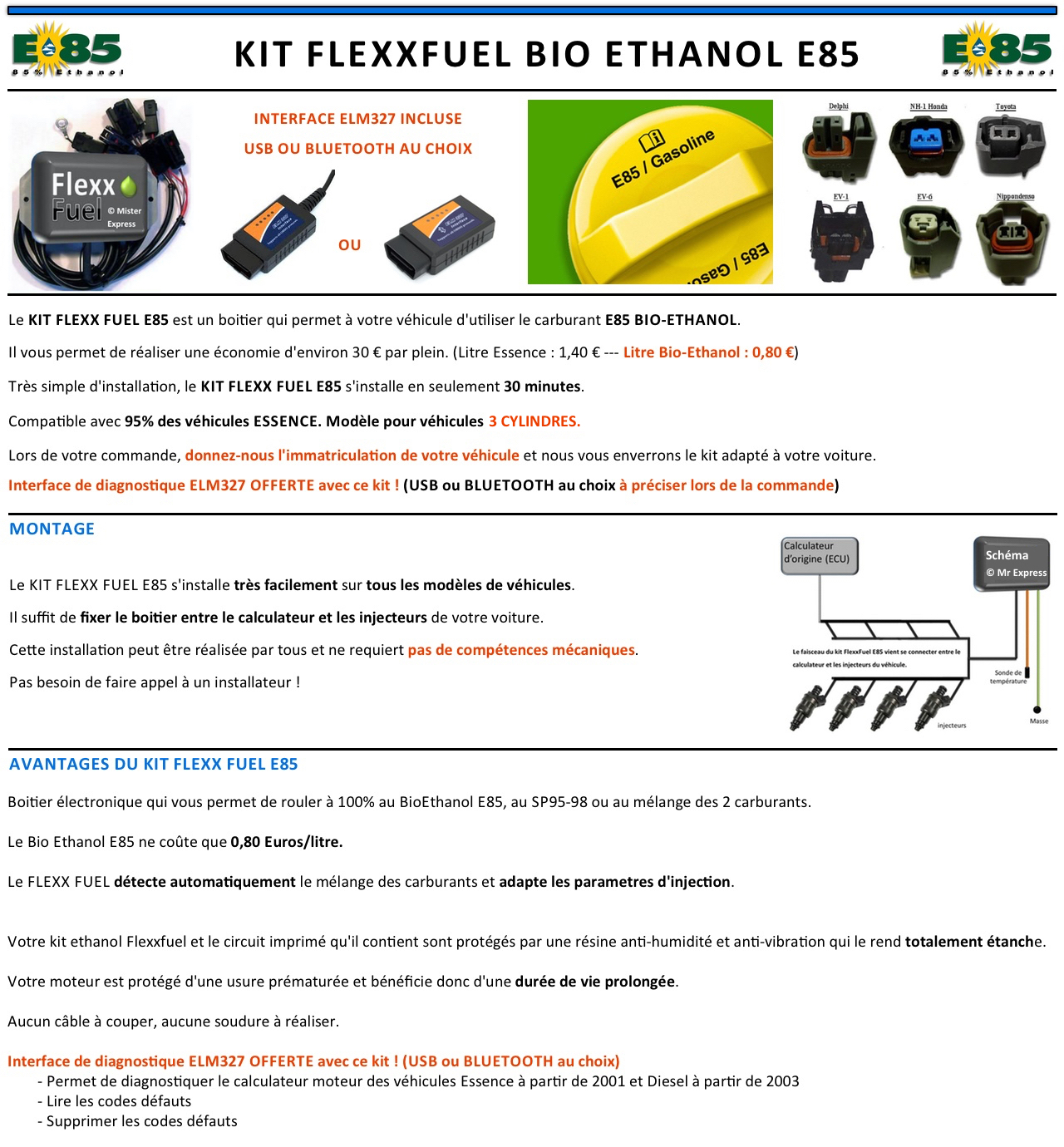 kit ethanol e85 3 cylindres flex fuel kit kit de conversion bioethanol e85 ebay. Black Bedroom Furniture Sets. Home Design Ideas