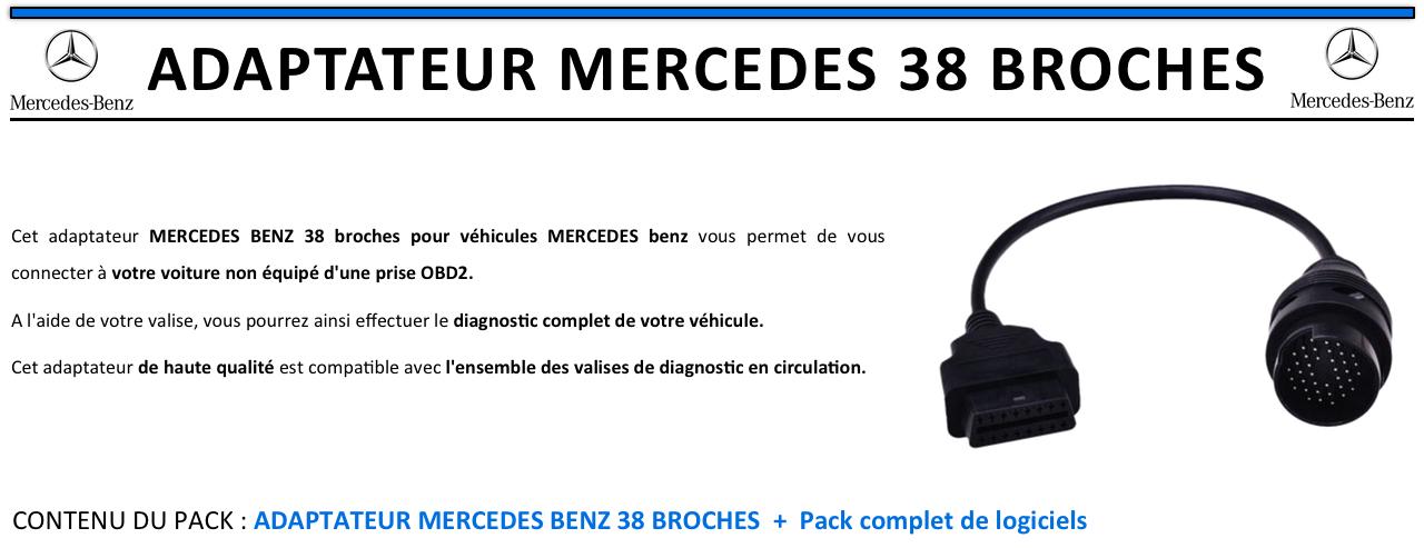 câble Adaptateur OBD pour Mercedes-Benz  38 broches vers obd2 16 broches