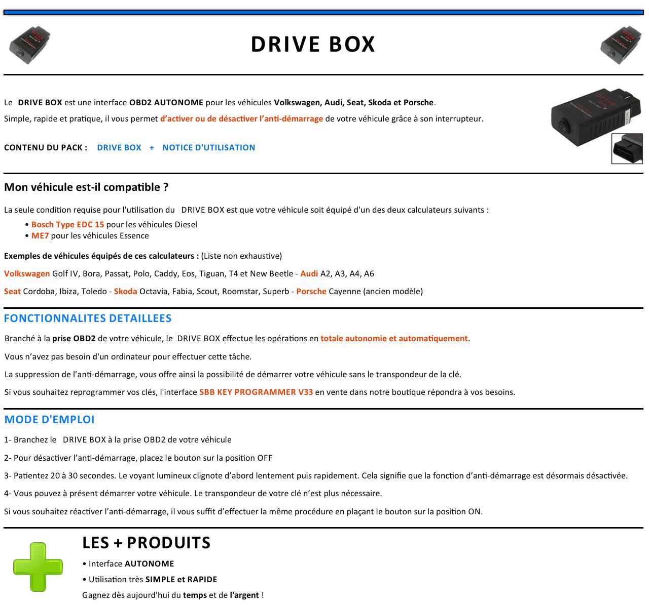 vag drive box desactivation anti demarrage obd2 programmation obd ebay. Black Bedroom Furniture Sets. Home Design Ideas