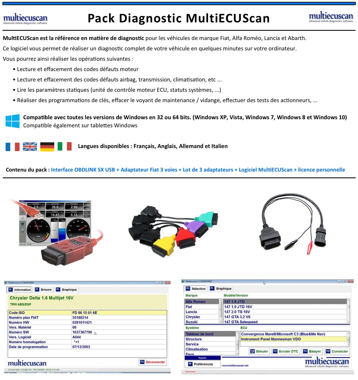 Adaptateurs MultiECUScan Officiel Pack de diagnostic OBDLINK SX USB