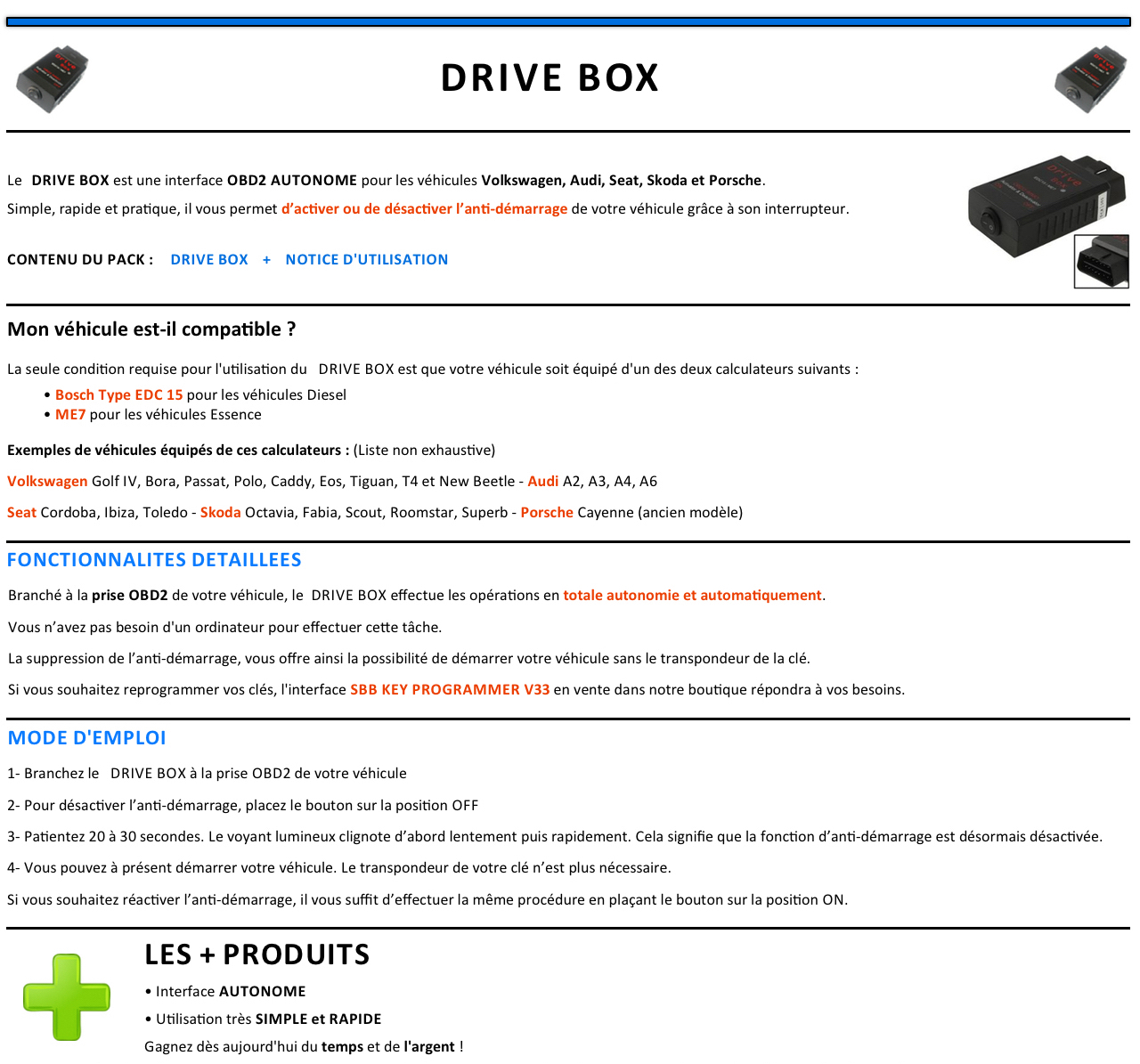 drive box desactivation anti demarrage reprogrammation pour audi golf seat vag ebay. Black Bedroom Furniture Sets. Home Design Ideas